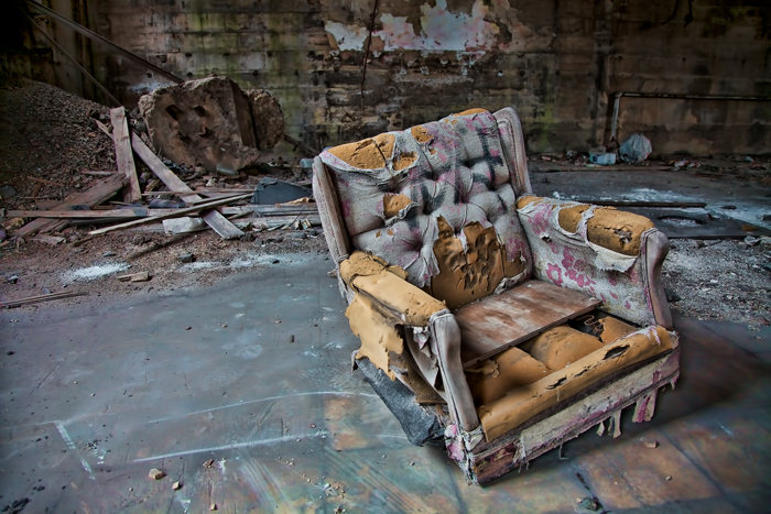Urban exploration of Gary, Indiana - Old chair in the City Methodist Church.