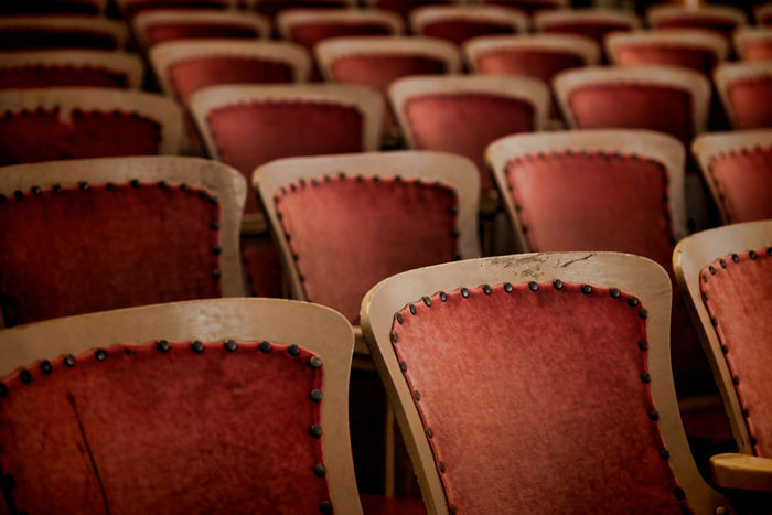 Old theater seats in the old theater on Mackinac Island.