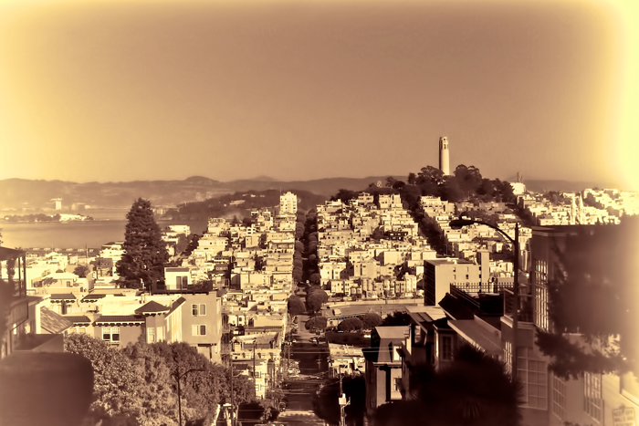 San Francisco with Coit Tower, sepia vintage photo.