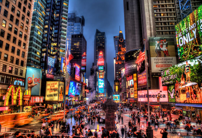 HDR photo of Times Square in New York City at night.