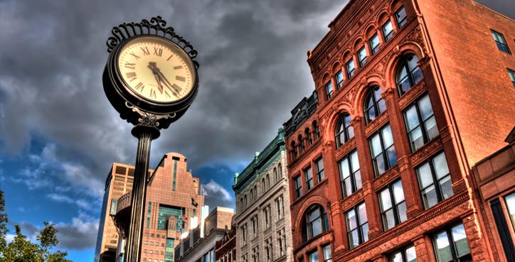 Downtown Louisville Clock on Main Street