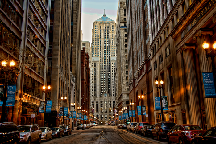 The Financial District on LaSalle Street in downtown Chicago.