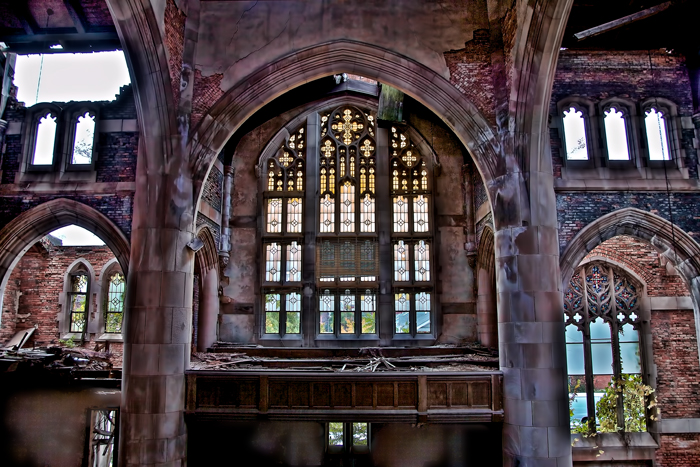 Old, Stained Glass Windows in the City Methodist Church in Gary, Indiana.