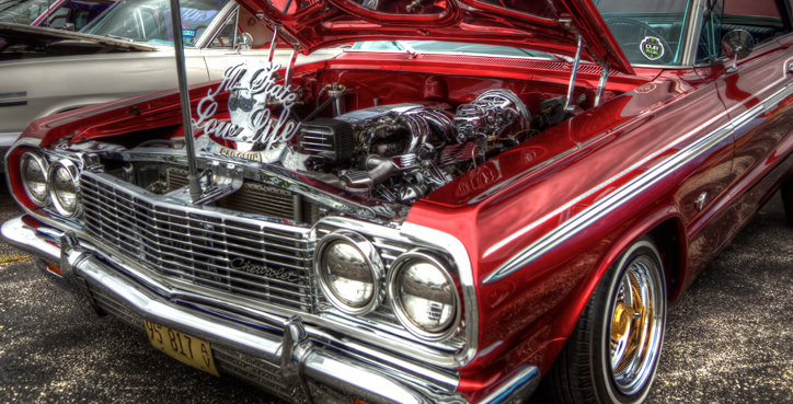 Old, 1960s Low Rider Chevy in HDR