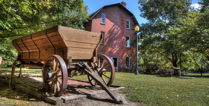 Grist Mill and Wagon at Deep River County Park