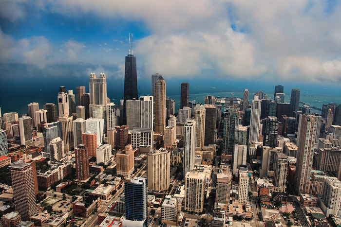 Aerial photo of Chicago overlooking the near north side of downtown Chicago.