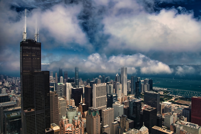 Aerial photo of Chicago near Willis Tower (formerly Sears Tower).
