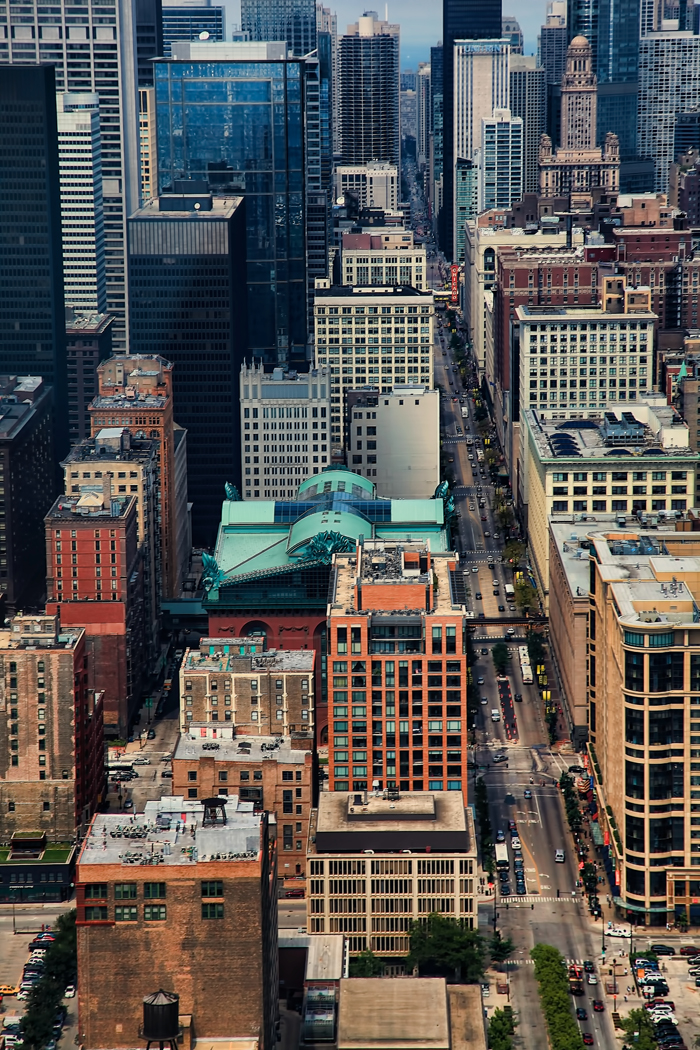 Aerial photo of downtown Chicago over State Street