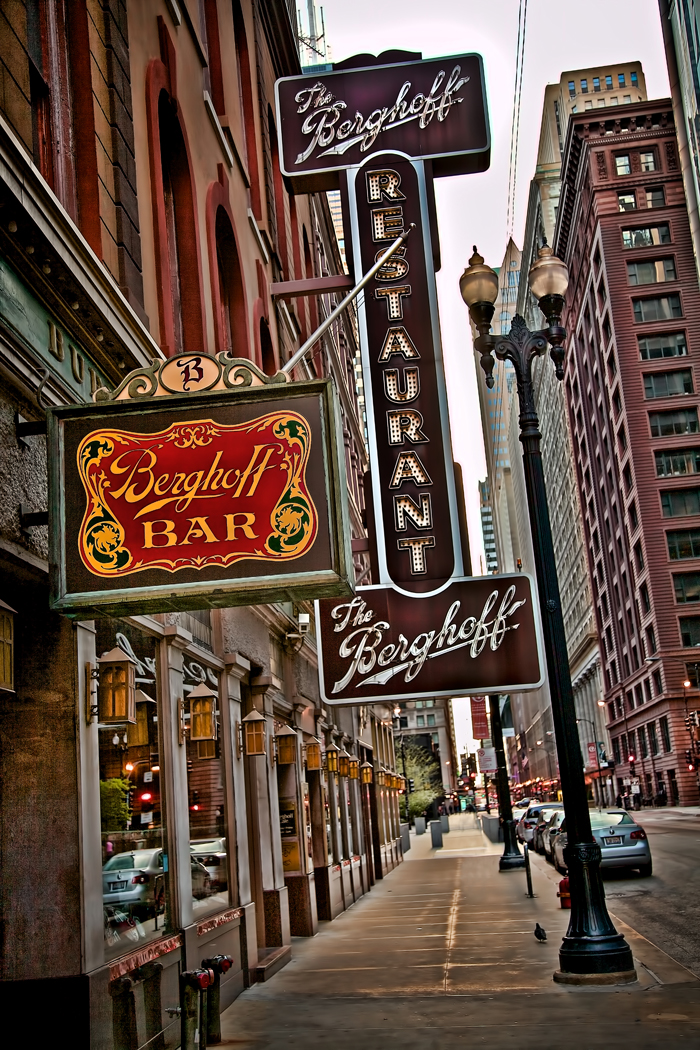 The famous Berghoff Restaurant and Berghoff Bar in downtown Chicago.