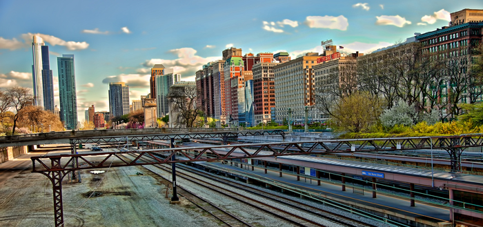 The downtown Chicago passenger railroad, Metra and South Shore electric lines.