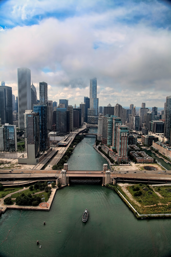Aerial Photo of downtown Chicago over Chicago River
