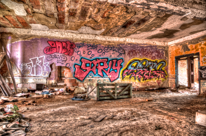 Graffiti Art in Abandoned Church