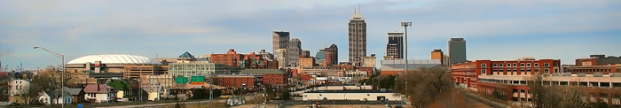 The Indianapolis skyline as in looked in 2006 with RCA Dome.