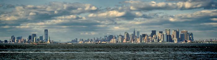Panoramic New York City and Newark Skyline