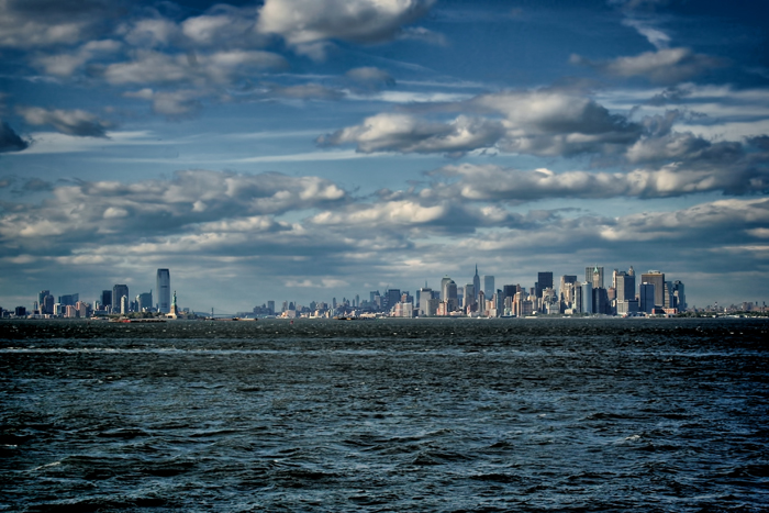 The Newark and New York City skyline from the Staten Island Ferry