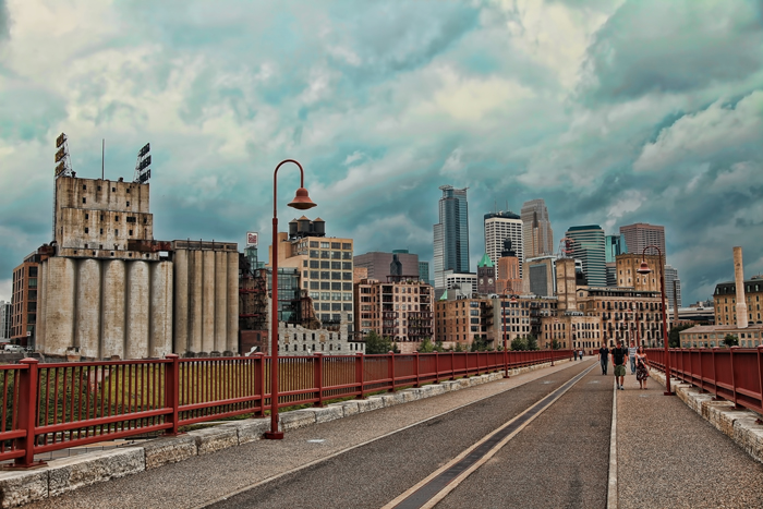Minneapolis, Minnesota Skyline from Stone Arch Bridge
