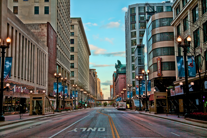 State Street in downtown Chicago.