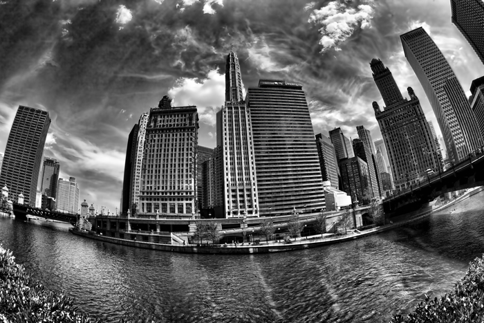 Chicago Skyline along the Chicago River in Black and White