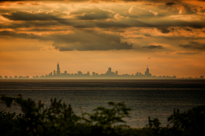 Chicago Skyline from Miller Beach in Gary, IN