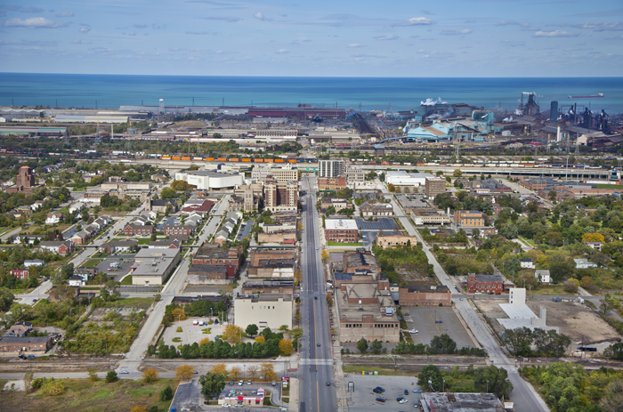 Aerial photo of downtown Gary, Indiana