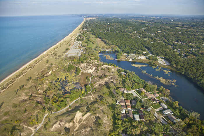 Marquette Park along the shores of Lake Michigan in Gary, Indiana