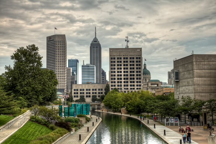 Downtown Indianapolis Canal Walk and Skyline