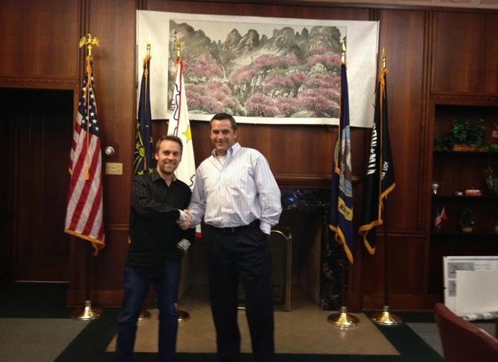 Joey Lax-Salinas with Mayor Tom McDermott Jr