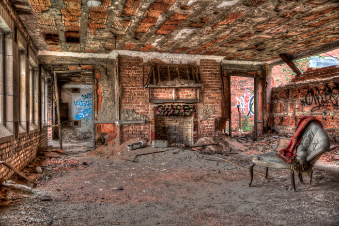 An empty room in the City Methodist Church in Gary, Indiana.